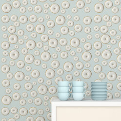 Stack of blue coffee cups and saucers on cup board in front of wallpaper with doughnut pattern, 3D Rendering - UWF01309