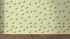 Wallpaper with Hamburger pattern and wooden floor, 3D Rendering - UWF01312