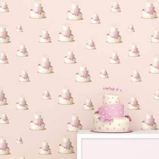 Pink and white birthday cake in front of wallpaper with fancy cake pattern, 3D Rendering - UWF01315
