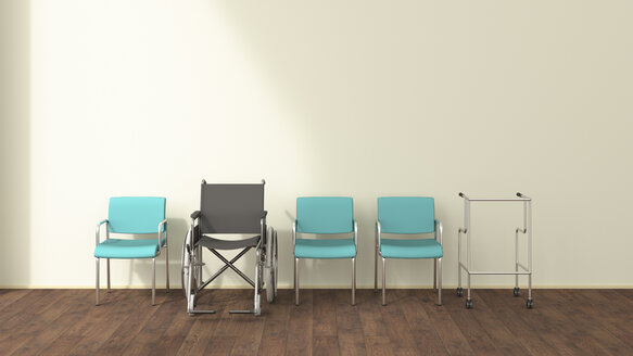 Row of wheelchair, wheeled walker and chairs in a waiting room, 3D rendering - UWF01318