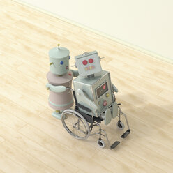 Female robot pushing male robot sitting in wheelchair, 3D rendering - UWF01321