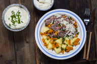 Tafelspitz with boiled potatoes, carrots, creamed horseradish and chives sauce - SBDF03364
