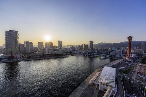 Japan, Kobe, Seaport at sunset - THAF02051