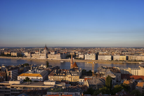 Hungary, Budapest, cityscape at sunset from the Buda side - ABOF00315
