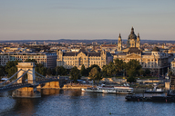 Hungary, Budapest, cityscape with Danube river at sunset - ABOF00318