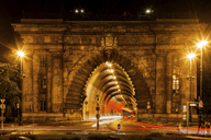 Hungary, Budapest, Buda Tunnel under Castle Hill at night - ABOF00333