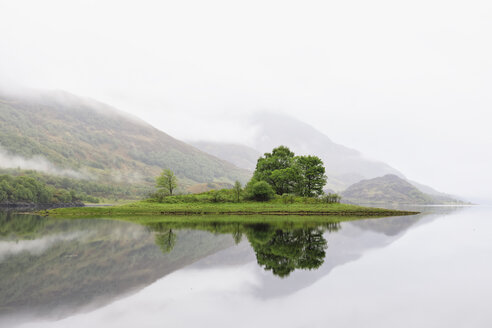 Great Britain, Scotland, Scottish Highlands, West Coast, View of small island in Loch Leven, morning fog - FOF09412
