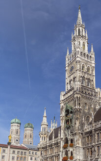 Germany, Bavaria, Munich, Marian column and Frauenkirche and new town hall - MMAF00200