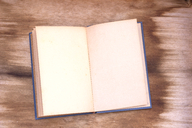 Opened old book with empty pages on wood - CMF00752
