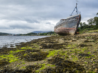 UK, Scotland, Highland, Loch Linnhe, ship wreck at the beach of Corpach - STSF01394