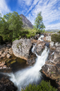 Great Britain, Scotland, Scottish Highlands, Glen Etive, Mountain massif Buachaille Etive Mor with Mountain Stob Dearg, River Coupall, Etive Mor Waterfall - FOF09451