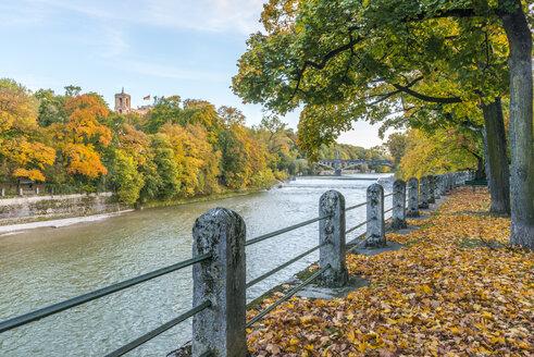 Germany, Bavaria, Munich, Isar river, Maximilianeum in autumn - KEBF00677