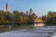 Germany, Bavaria, Munich, River Isar and Muellersches Volksbad in autumn - KEBF00683