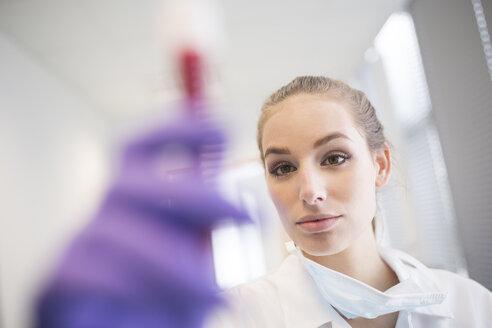 Scientist in lab examining blood sample - WESTF23636