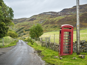 UK, Scotland, Highland, telephone booth at North Coast 500 - STSF01414
