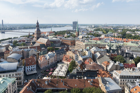 Latvia, Riga, Old town, with Riga Cathedral and St. Peter's Church, Daugava river - CSTF01475