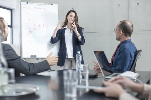 Businesswoman leading a presentation on a meeting in conference room - ZEF14800