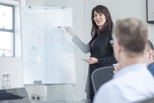 Businesswoman leading a presentation on a meeting in conference room - ZEF14806