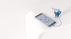 3D Illustration, Figurine loading smartphone - AHUF00436