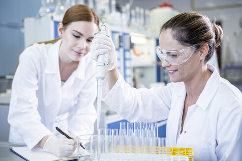Two scientists working together in lab pipetting - WESTF23699
