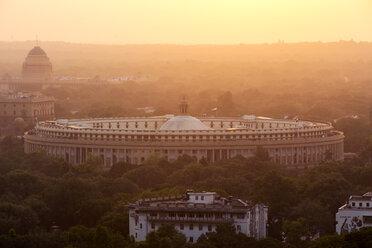 India, Delhi, New Delhi, Parliament Building at sunset, pollution, smog - NDF00688