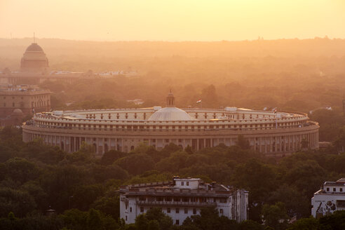 India, Delhi, New Delhi, Parliament Building at sunset, pollution, smog - NDF00688