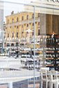 Italy, Lombardy, Brescia, mirrored facades in window display of wine store - CSTF01512