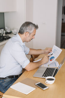 Man analysing data and using laptop in home office - ALBF00258