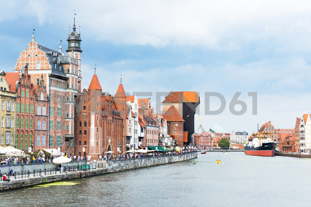 Poland, Pomerania, Gdansk, Crane Gate, Museum ship and houses at Motlawa river - CSTF01528