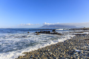 South Africa, Cape Town, Robben Island, Beachfront with waves looking at Table Mountain - ZEF14846