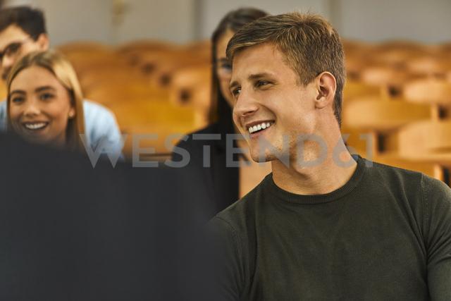 Smiling students in auditorium at university - ZEDF01006