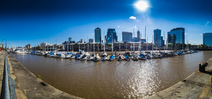 Argentina, Buenos Aires, Puerto Madero, Dock Sud with Catalinas Towers, financial district, Retiro, wide angle view, panorama - AMF05529