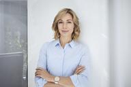 Portrait of blond woman, business woman, light blue blouse - PNEF00363