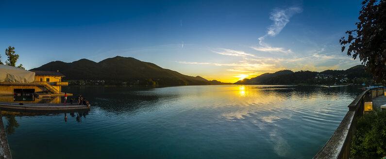 Austria, Upper Austria, Salzkammergut, Lake Fuschlsee at sunset - AMF05532