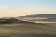 Germany, Bavaria, Lower Bavaria, Bavarian Forest National Park, near Finsterau, View from Siebensteinkopf, morning fog and National Park Sumava in Czechia - SIEF07609