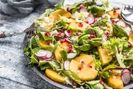 Kaki salad with red radish, pomegranate, avocado and cheese - SARF03423