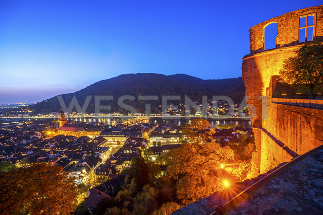 Germany, Baden-Wuerttemberg, Heidelberg,  City view, blue hour - PUF00948