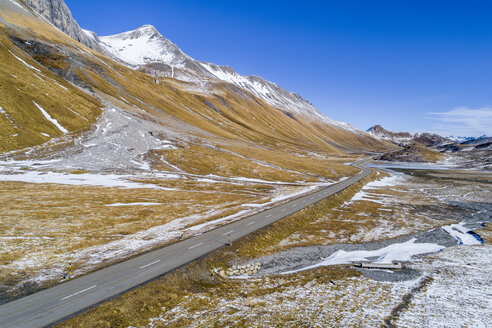 Switzerland, Grisons, Engadin, Albula Valley, Aerial view of Albula Pass road - STSF01447