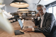Senior businessman sitting in cafe working on laptop - GUSF00236