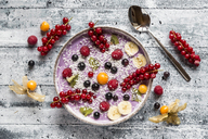 Yogurt with fruits, blueberry, red currants, raspberry, kiwi, banane, physalis - SARF03427