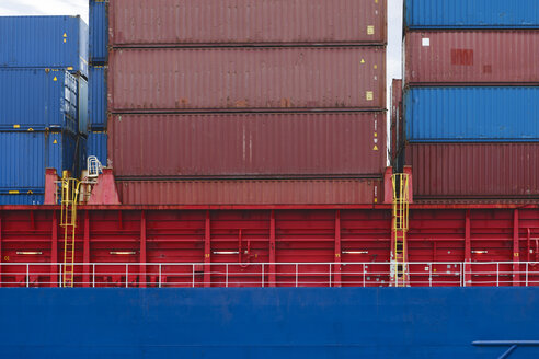 South Africa, Cape Town, shipping containers stracked on cargo ship - ZEF14861