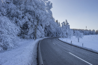 Germany, Saxony-Anhalt, Schierke, Harz National Park, country road in winter - PVCF01178