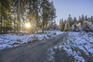 Germany, Lower Saxony, Altenau, Harz Nature Park in winter, hiking path against morning sun - PVCF01193