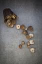 Organic shitake mushrooms in basket and on stone - LVF06467