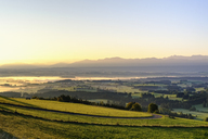 Germany, Bavaria, Upper Bavaria, Allgaeu, Pfaffenwinkel, View from Auerberg near Bernbeuren during sunrise - SIEF07641