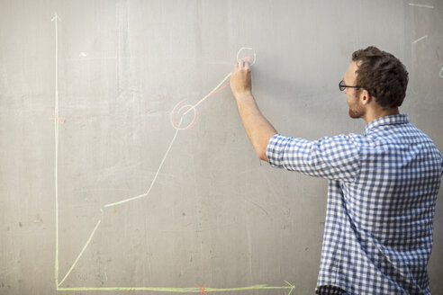 Man drawing a graph with chalk on a concrete wall - ZEF14904