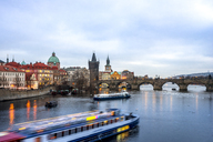 Czechia, Prague, Charles Bridge and tourboat - PUF00974