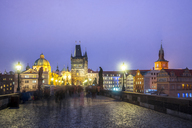 Czechia, Prague, Charles Bridge in the evening - PUF00977