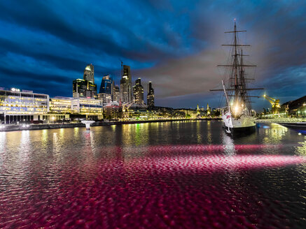Argentina, Buenos Aires, Puerto Madero, Dock Sud, Frigate Sarmiento at night - AMF05578