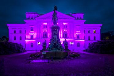 Germany, Hamburg, Altona, Town hall, pink illuminated - KEBF00688